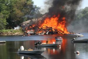 Boat shop fire
