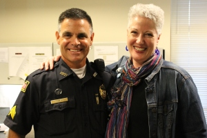 Julie with Patrick Towle right before our police ride along.