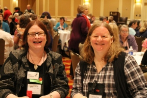 Sheila Connolly and Barb Ross speed dating in 2013.