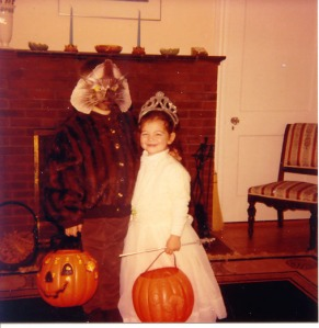 Son Rob and daughter Kate. Costumes were always homemade. The werewolf is wearing an old mink sweater of my grandmothers, the princess her aunt's confirmation dress.