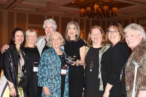 At 2013 Malice Domestic, celebrating Hank's win for Best Contemporary Novel. From L-R Liz, Kate Flora, Julie, Eidth, Hank, Barb, Sherry, and Mo Walsh