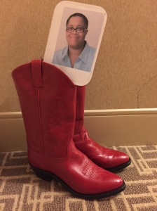 Dru hopes to do some line dancing in her red boots.