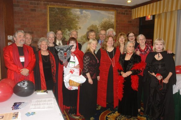 The Level Best authors at the Vampire Ball, Crime Bake 2010. Can you find Julie, Edith, Sheila, and Barb?