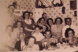 Aunt Eveyln is seated in the front row in the black jacket. My Dad is the young boy in the middle.