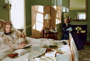Edith Wharton writing in bed. Note: This is a recreation. Though EW did write in bed, it's hard to imagine her allowing herself to be photographed there.