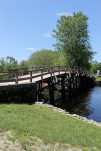 A replica of the original Old North Bridge