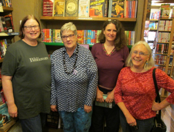 Sheila Connolly, Sarah Knight, Sara J. Henry, and Edith. Picture taken by Tiger Wiseman (Edith thinks)