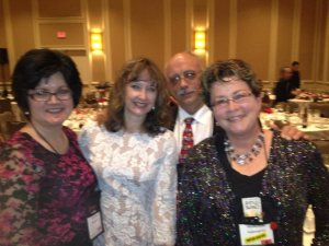 Joyce, Annette Dashofy, Jeff Boarts, and Martha Reed at Malice Domestic 2015.