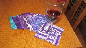 Wine glass coasters made from West African cloth