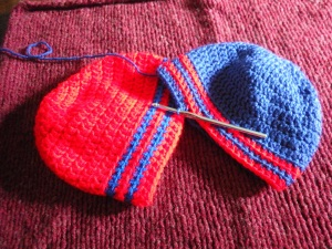 Hats in Progress for a friend's twin sons. I've made approximately a million of these crocheted hats!