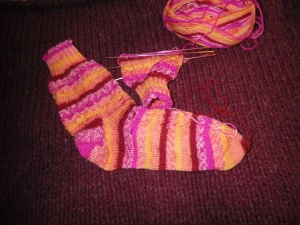 Socks in progress. Even the background is a WIP (it will be a felted wool bag)!