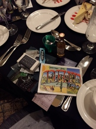 Swag at our banquet table sponsored by Lori Rader-Day and