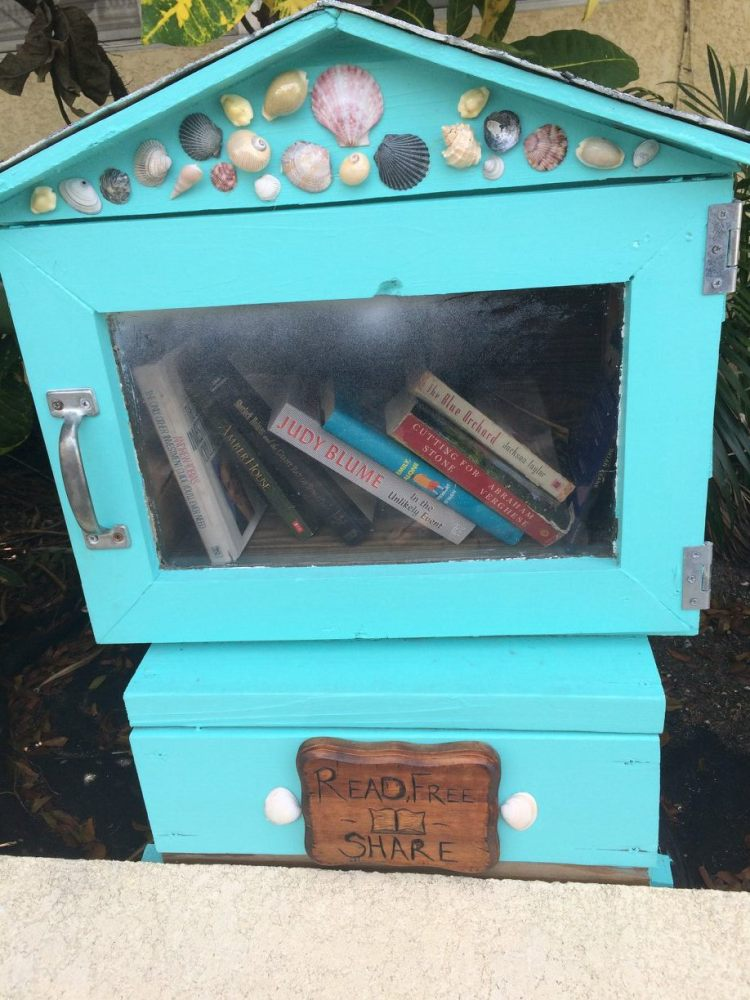 Local microlibrary with a book by one of Key West's best known living authors, Judy Blume