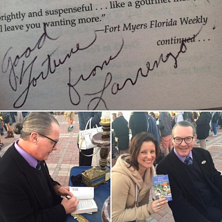 "Autograph from the ""real"" Lorenzo from Lucy Burdette's Key West Food Critic Mysteries"