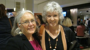 "Edith and ""big dog"" Sue Grafton - who was happy to post for a picture!"
