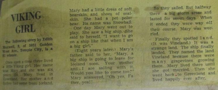 Edith's story won a Pasadena Star News contest when she was nine.