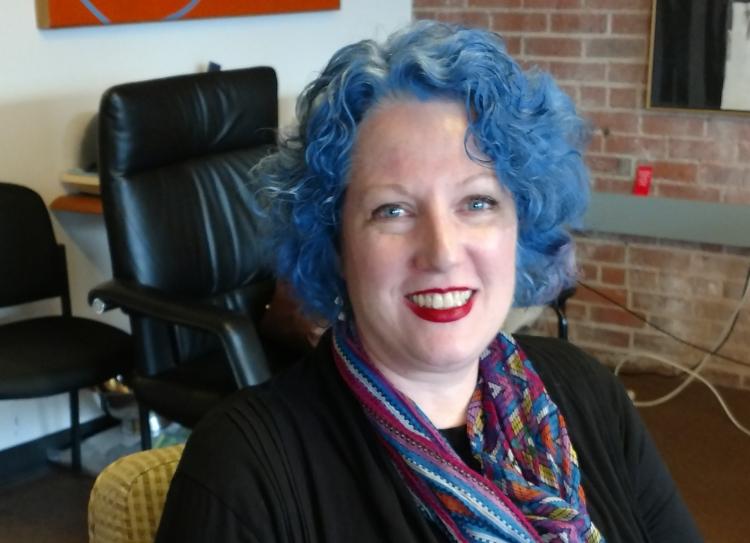 Julie Hennrikus with blue hair