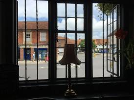 The view from inside THe Swan in Midsomer!