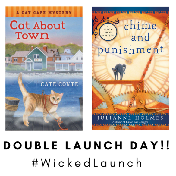 Picture of Cate Conte's CAT ABOUT TOWN and Julianne Holmes's CHIME AND PUNISHMENT with the caption DOUBLE LAUNCH DAY