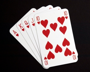 A studio image of a hand of playing cards.