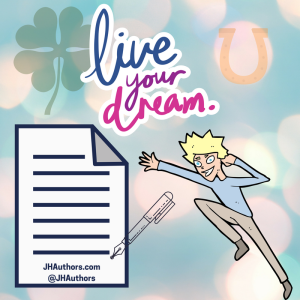 Live Your Dream image with resume, pen, person jumping with joy, four leaf clover, and horseshoe