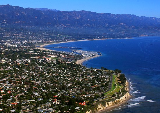 Santa Barbara coastline and mountains