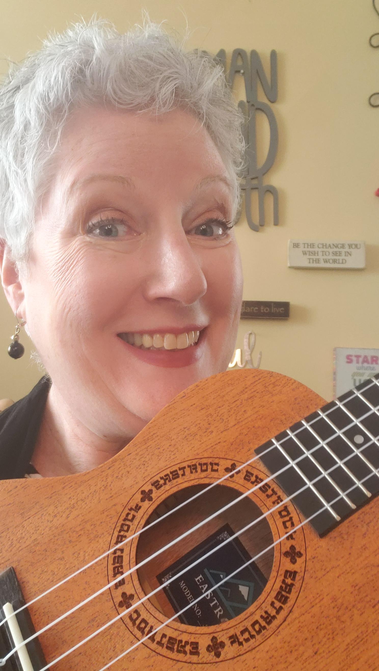 Julie with her new ukulele