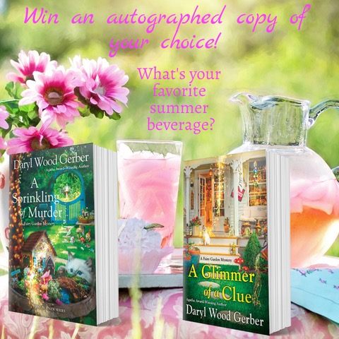image for giveaway What's your favorite summer beverage with the two fairy garden books in the series and a pitcher of pink lemonade